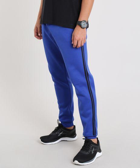 Calca-Masculina-Esportiva-Ace-em-Moletom-com-Faixas-Laterais-Azul-Royal-9335532-Azul_Royal_1
