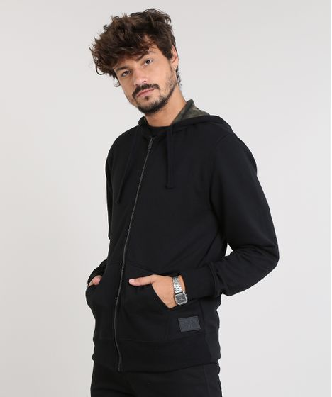 9669f9234da Blusão Masculino em Moletom com Capuz Estampado Preto - cea