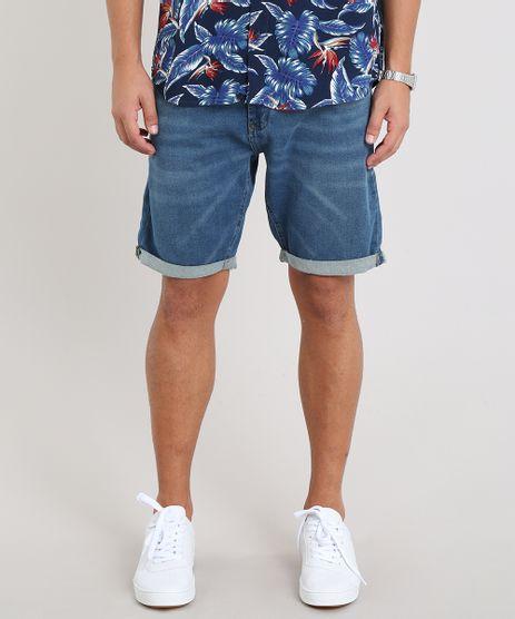 Bermuda-Jeans-Masculina-Slim-com-Barra-Dobrada-Azul-Medio-9456264-Azul_Medio_1
