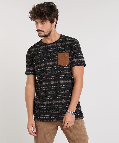 Camiseta-Masculina-Estampada-Etnica-com-Bolso-Manga-Curta-Gola-Careca-Preta-9447028-Preto_1