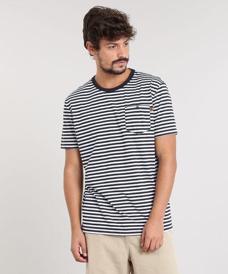 Camiseta-Masculina-Listrada-com-Bolso-Manga-Curta-Gola-Careca-Preta-9448987-Preto_1