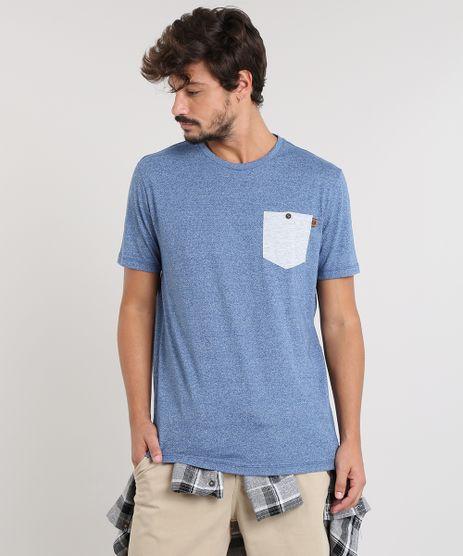 Camiseta-Masculina-com-Bolso-Manga-Curta-Gola-Careca-Azul-9456394-Azul_1