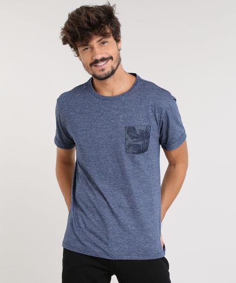 Camiseta-Masculina-com-Bolso-Estampado-Manga-Curta-Gola-Careca-Azul-9460498-Azul_1