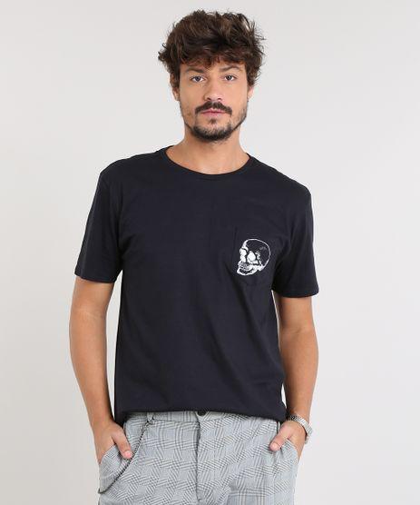 Camiseta-Masculina-com-Bolso-de-Caveira-Manga-Curta-Gola-Careca-Preta-9460503-Preto_1