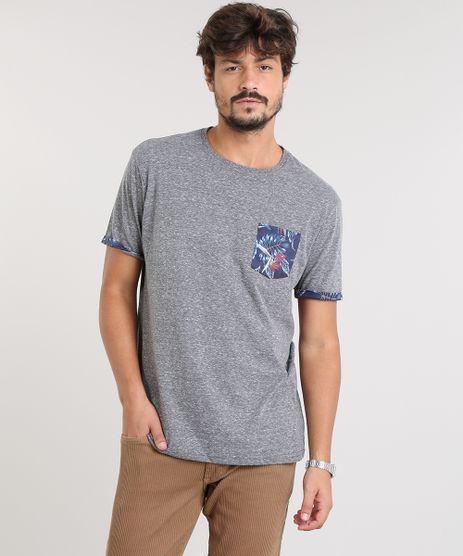 Camiseta-Masculina-com-Bolso-Estampado-Manga-Curta-Gola-Careca-Cinza-Mescla-Escuro-9484548-Cinza_Mescla_Escuro_1