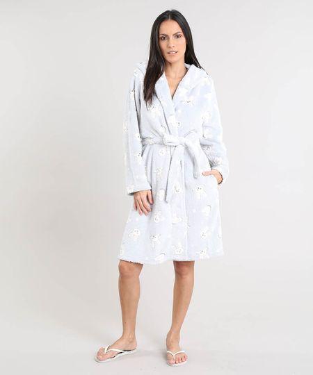 377b24cac Menor preço em Roupão Feminino em Fleece Estampado de Coelho com Capuz Manga  Longa Cinza Claro