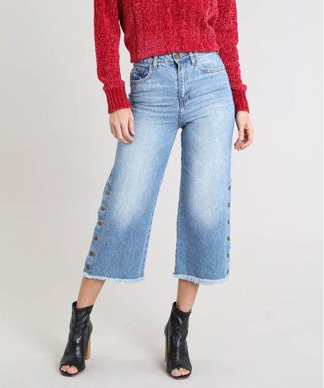 a2acbeab1 Calca-Pantacourt-Jeans-Feminina-com-Botoes-Azul-Medio-