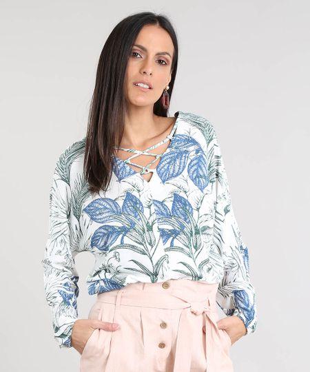 f27c6345a6 Menor preço em Blusa Feminina Estampada de Folhagem com Lace Up Manga Longa  Decote V Off