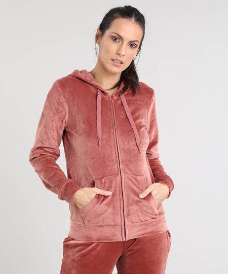 74af0a0b5 Menor preço em Blusão Feminino Esportivo Ace em Plush com Capuz Marrom Claro
