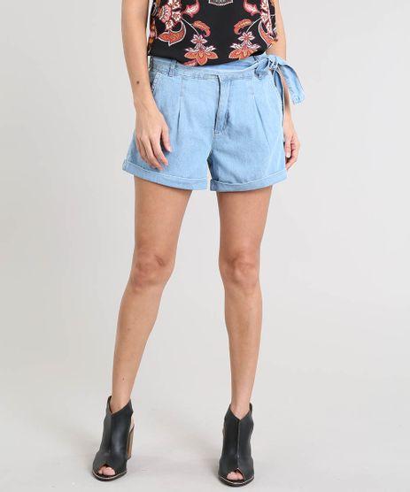 Short-Jeans-Feminino-com-Faixa-para-Amarrar-Azul-Claro-9463463-Azul_Claro_1