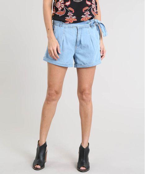 8db2e0f48 Short Jeans Feminino com Faixa para Amarrar Azul Claro - cea