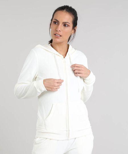 1269b8c8bc Menor preço em Blusão Feminino Esportivo Ace em Plush com Capuz Off White