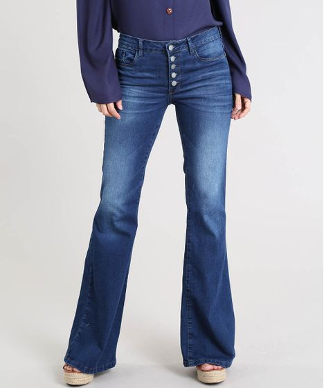018b3fd1d Calça Jeans Feminina Flare Cintura Média Azul Escuro - cea