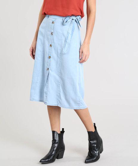 Saia-Jeans-Feminina-Midi-com-Botoes-e-Faixa-para-Amarrar-Azul-Claro-9505772-Azul_Claro_1