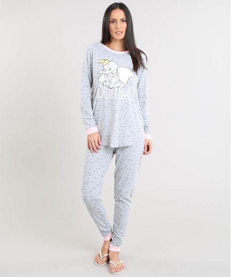 Pijama-Feminino-Dumbo-Estampado-Manga-Longa-Cinza-Mescla-9490015-Cinza_Mescla_1