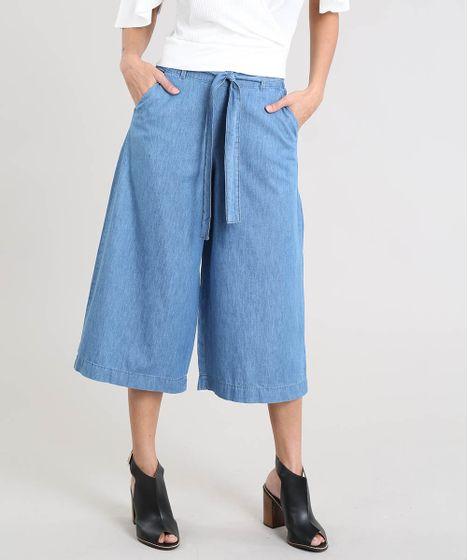 25b532c7b Calça Pantacourt Jeans Feminina com Faixa para Amarrar Azul Médio - cea