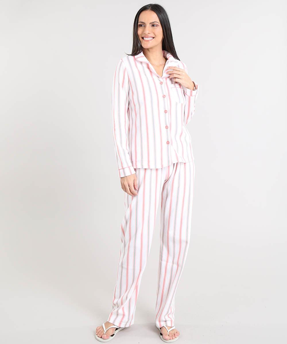 9dd5dd465e9 Pijama de Inverno Feminino Listrado em Fleece Manga Longa Off White ...