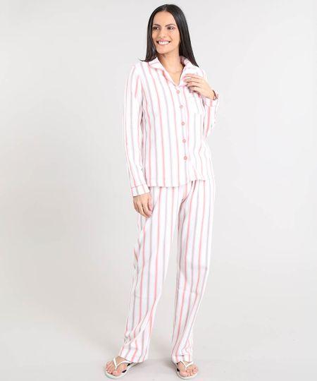 cefe67368 Menor preço em Pijama de Inverno Feminino Listrado em Fleece Manga Longa  Off White