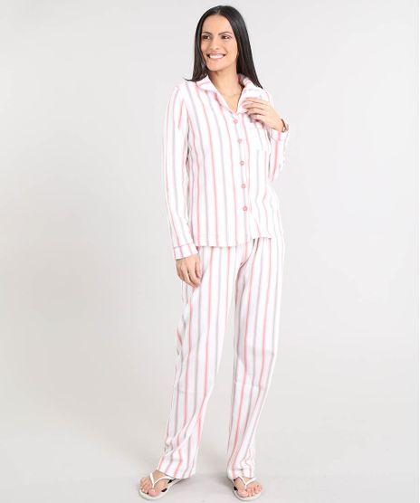 Pijama-de-Inverno-Feminino-Listrado-em-Fleece-Manga-Longa-Off-White-9371445-Off_White_1