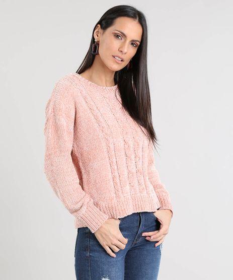 Sueter-Feminino-em-Trico-de-Chenille-Rose-9362256-Rose_1