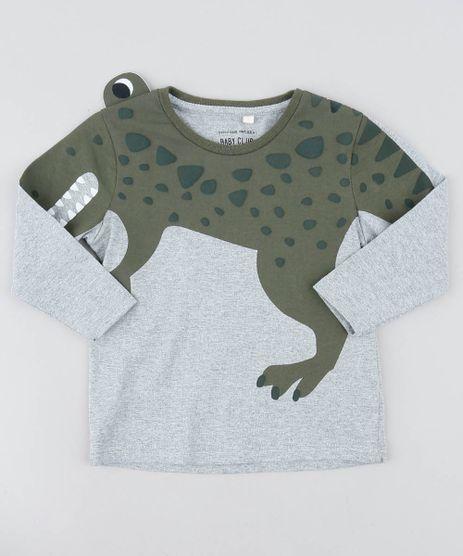 Camiseta-Infantil-com-Estampa-Interativa-de-Dinossauro-Manga-Longa-Gola-Careca-Cinza-Mescla-9482765-Cinza_Mescla_1