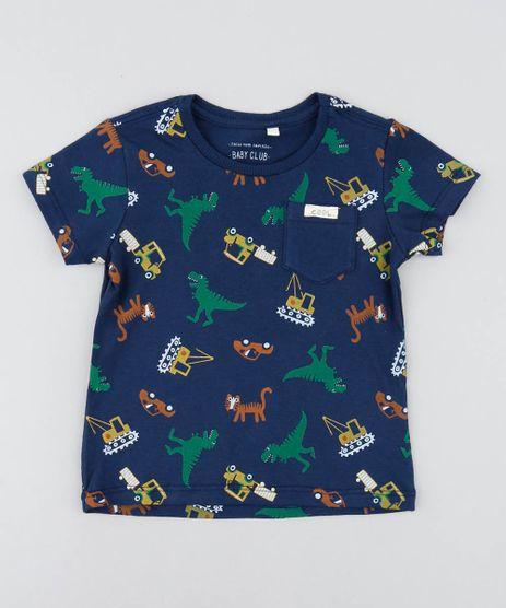 Camiseta-Infantil-Estampada-de-Dinossauros-Manga-Curta-Gola-Careca-Azul-Marinho-9449991-Azul_Marinho_1