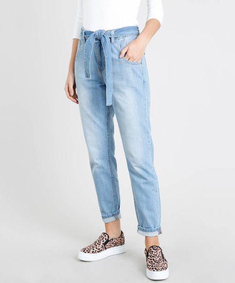 Calca-Jeans-Feminina-Mom-Clochard-com-Faixa-para-Amarrar-Azul-Claro-9463411-Azul_Claro_1