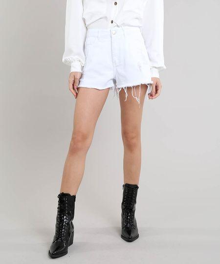 0e5f6f478 Menor preço em Short de Sarja Feminino Mindset Vintage Destroyed Off White