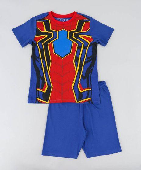Pijama-Infantil-Homem-Aranha-Manga-Curta-Azul-9476325-Azul_1