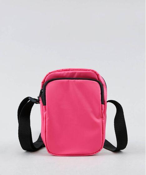 3313ef08a Bolsa Feminina Transversal Pequena com Bolso Rosa Neon - cea