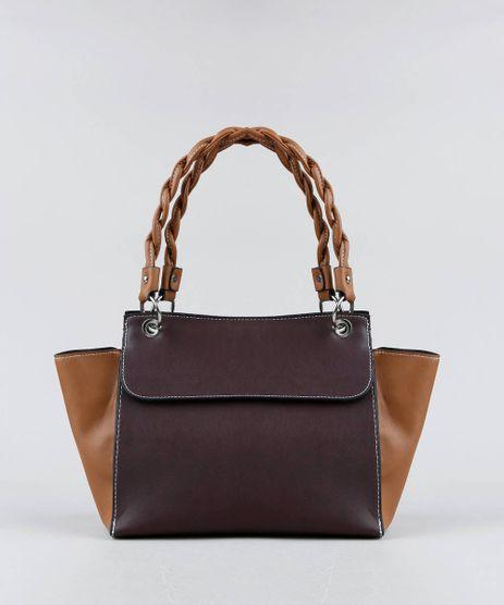 Bolsa-Feminina-Grande-Bicolor-com-Alca-Torcida--Vinho-9359471-Vinho_1