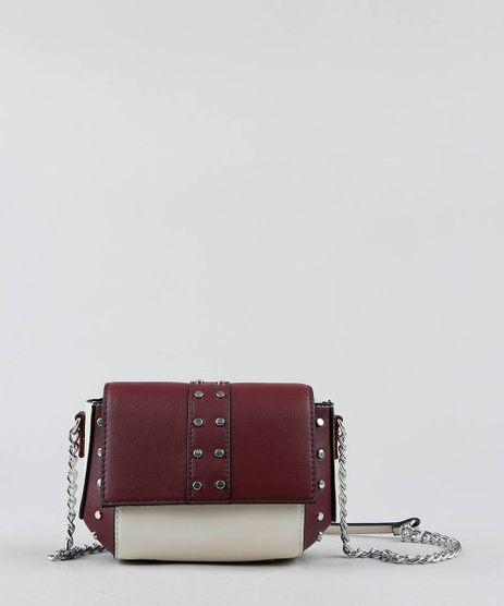 Bolsa-Feminina-Transversal-Pequena-Bicolor-com-Tachas-e-Alca-de-Corrente-Vinho-9360784-Vinho_1