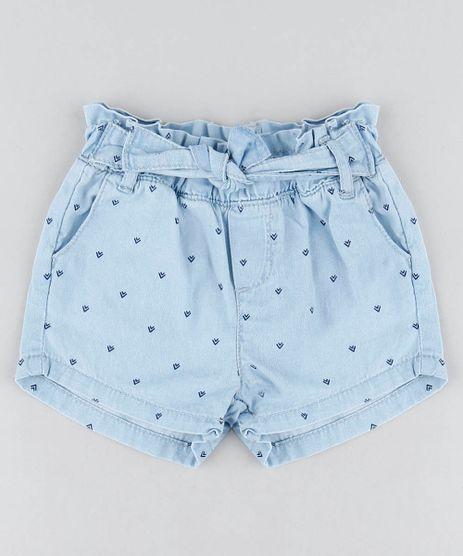 ff93b1e6530 Short-Jeans-Infantil-Clochard-Estampado-Mini-Print-Azul-