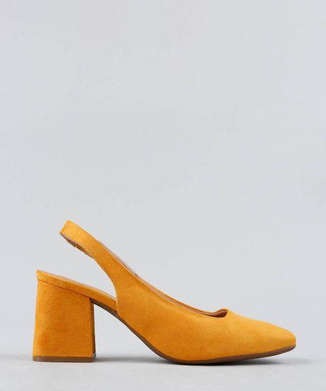 Scarpin-Feminino-Bico-Quadrado-Vizzano-em-Suede-com-Abertura-Amarelo-9472317-Amarelo_1