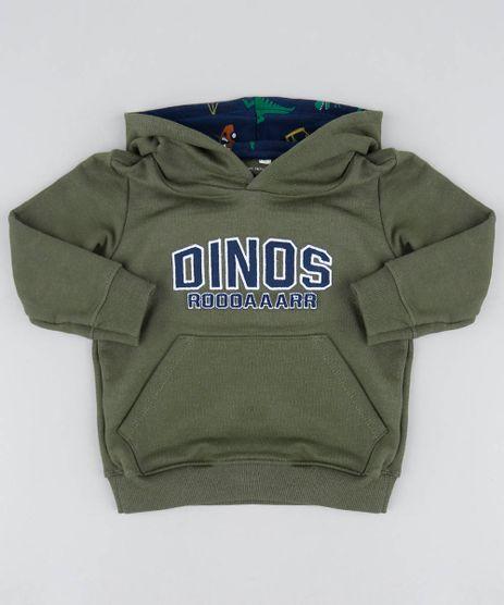 Blusao-Infantil--Dinos--com-Capuz-em-Moletom-Verde-Militar-9482770-Verde_Militar_1