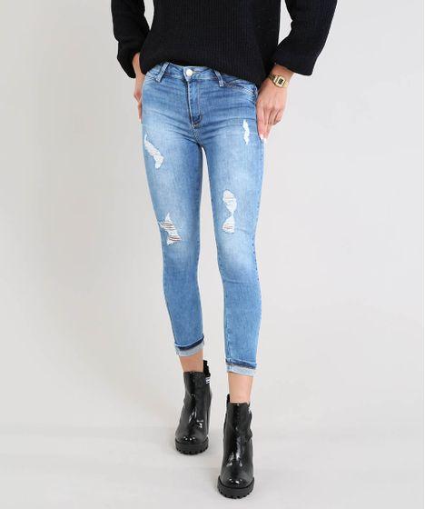 5373b95257 Calça Jeans Feminina Sawary Cropped com Rasgos Azul Médio - cea