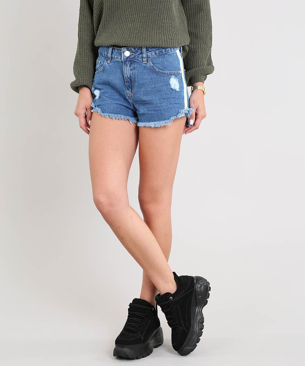 49e829d19 Short Jeans Feminino Boy com Faixa Lateral Azul Médio - cea