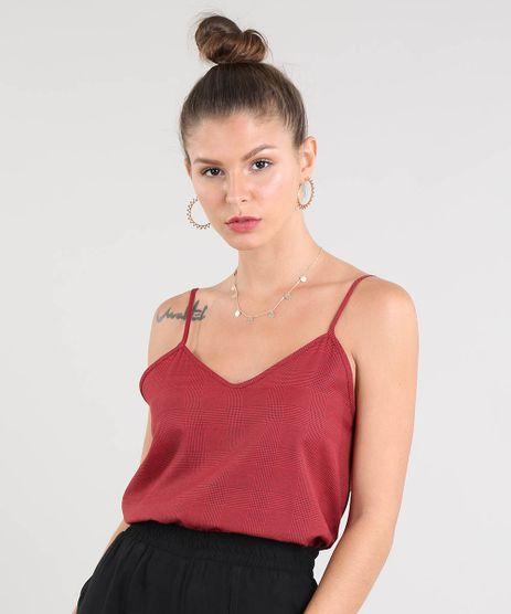 Regata-Feminina-Ampla-Estampada-Xadrez-Decote-V-Vermelha-9506511-Vermelho_1