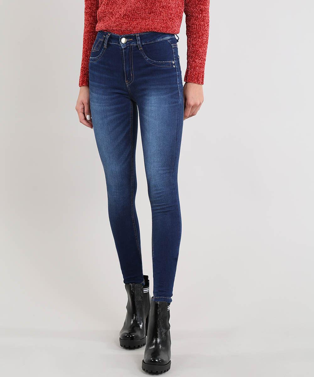 84d112c8b Calça Jeans Feminina Sawary Skinny Cintura Alta Azul Escuro - cea