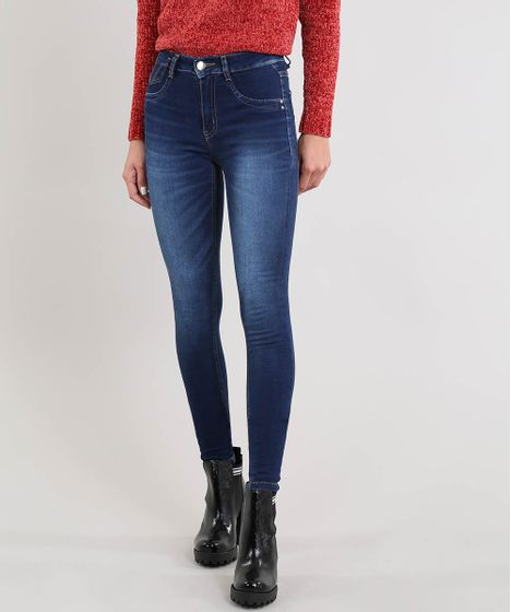 83ff9957b Calça Jeans Feminina Sawary Skinny Cintura Alta Azul Escuro - cea