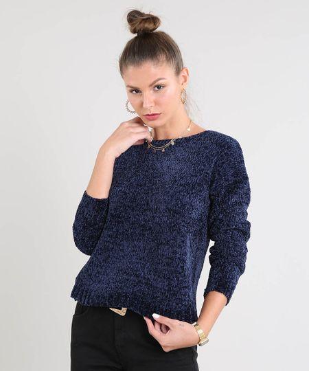 a093c29077 Menor preço em Suéter Feminino em Tricô de Chenille Manga Longa Azul Marinho