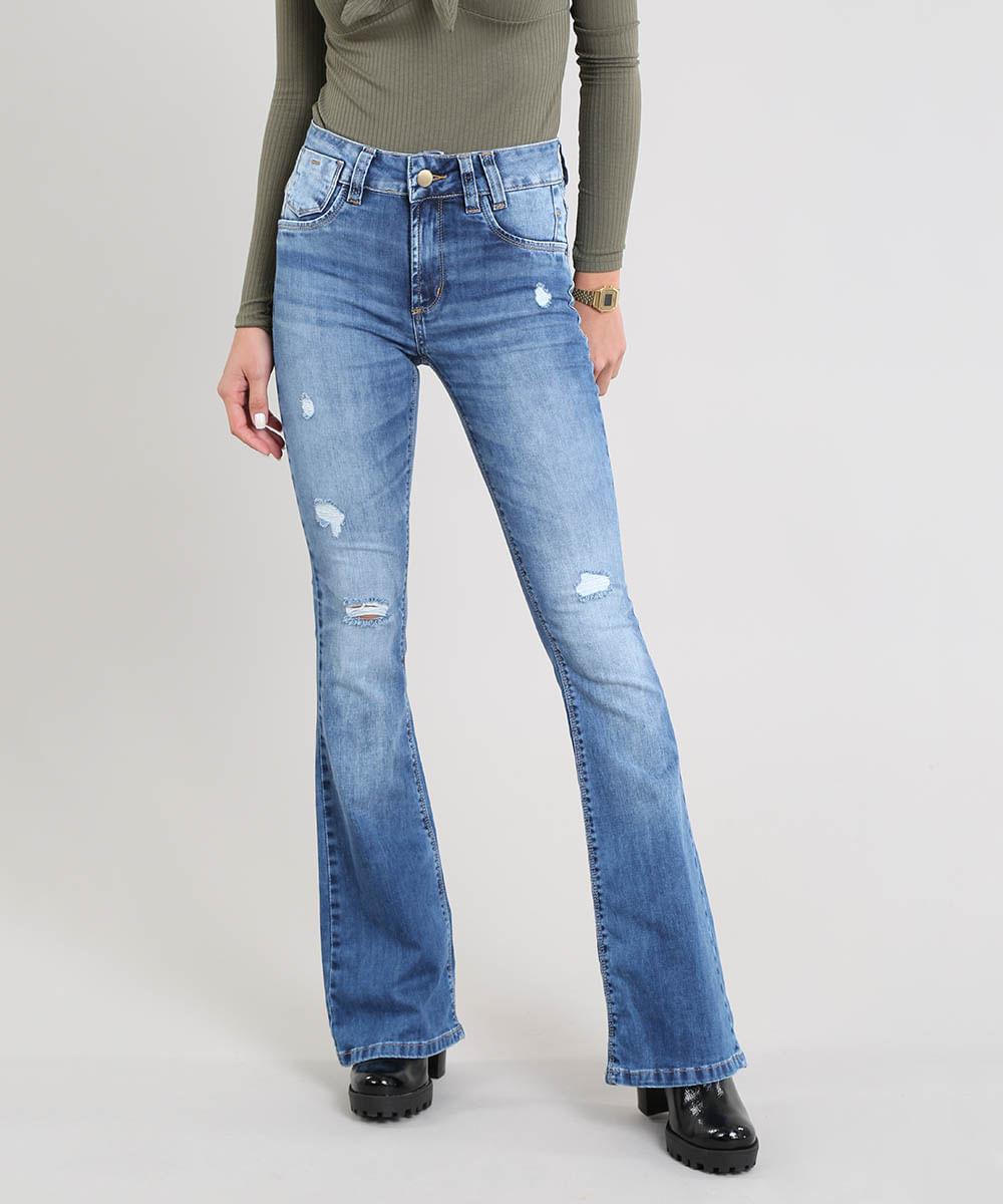b0f52c5df Calça Jeans Feminina Sawary Flare com Rasgos Azul Médio - cea