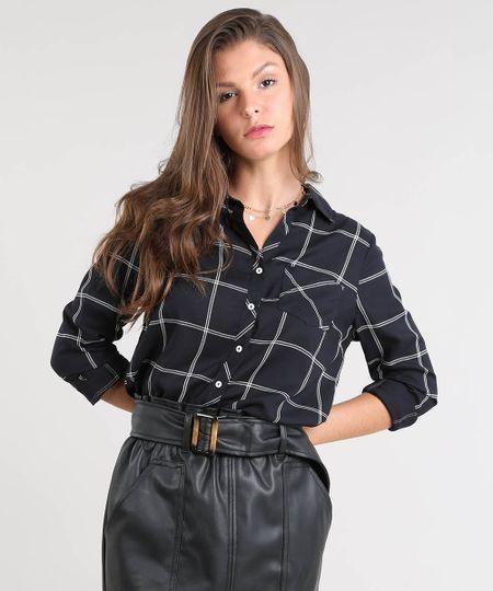 4fe699537 Menor preço em Camisa Feminina Estampada Xadrez com Bolso Manga Longa Preta