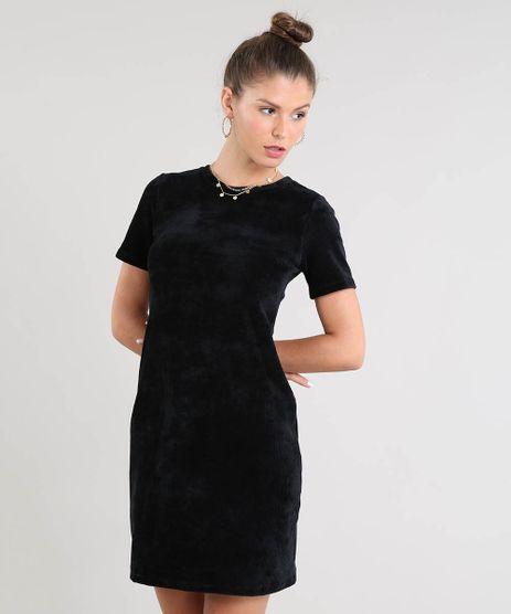 Vestido-Feminino-Curto-em-Veludo-Cotele-Manga-Curta-Preto-9521608-Preto_1