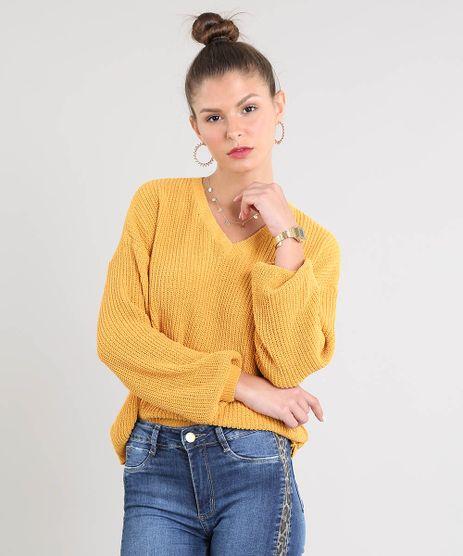 Sueter-Feminino-em-Trico-Decote-V-Mostarda-9359534-Mostarda_1
