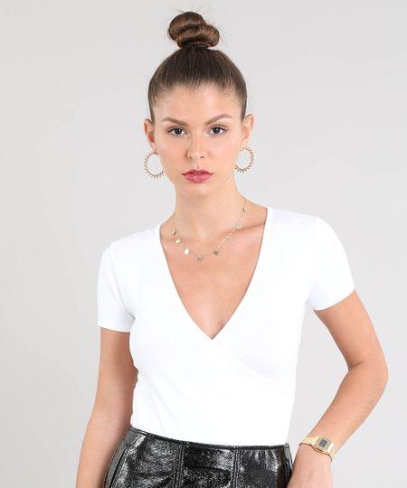 9bd65aba0e Menor preço em Blusa Feminina Cropped Transpassada com Franzido Manga Curta  Decote V Off White