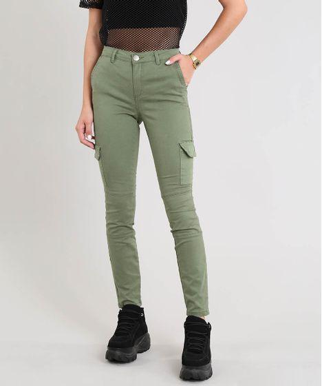 238e8ab26 Calça de Sarja Feminina Skinny Cargo Verde Militar - cea