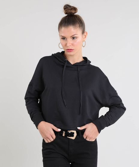 Blusao-Feminino-Cropped-em-Moletom-com-Capuz-e-Cadarco-Preto-9466833-Preto_1