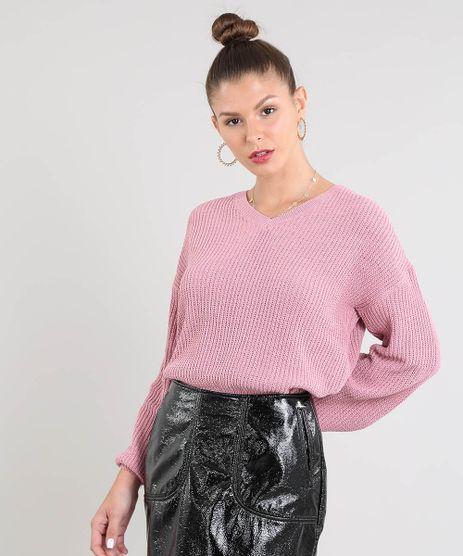 Sueter-Feminino-em-Trico-Decote-V-Rose-9359534-Rose_1