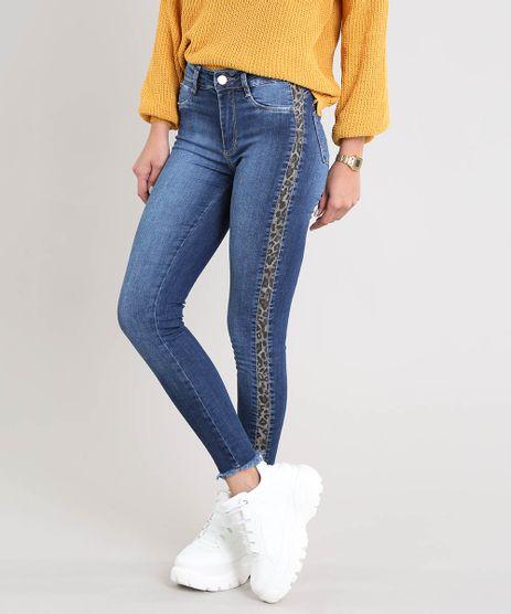 Calca-Jeans-Feminina-Sawary-Cigarrete-com-Faixa-Lateral-Animal-Print-Azul-Escuro-9509352-Azul_Escuro_1